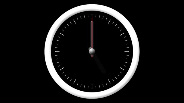 Animated Clock Countdown 12 Hours Over 60 Seconds video