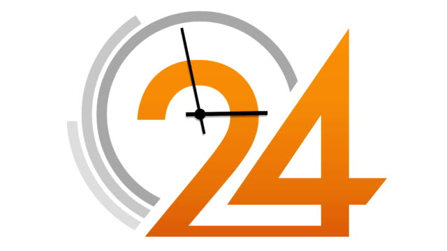 Animated clock face 24 counting down video