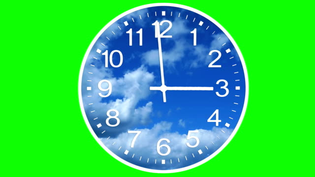 Animated Clock Face with Time Lapse Clouds video