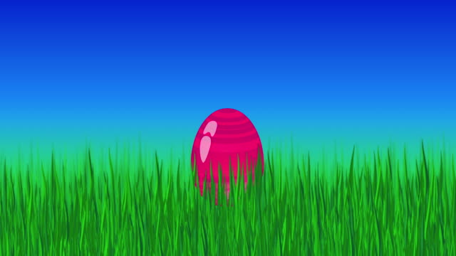 Animated colorful rolling eggs in green grass. Loop footage for Easter. Holiday template in video format 4K.