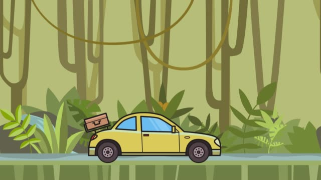 Animated coupe car with luggage on the rear hood riding through rainforest. Moving hatchback on jungle and river background. Flat animation. video
