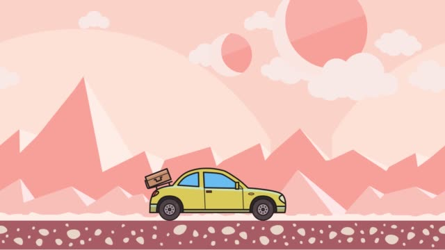 Animated coupe car with luggage on the rear hood riding through extraterrestrial pink desert. Moving hatchback on montain desert background. Flat animation. video