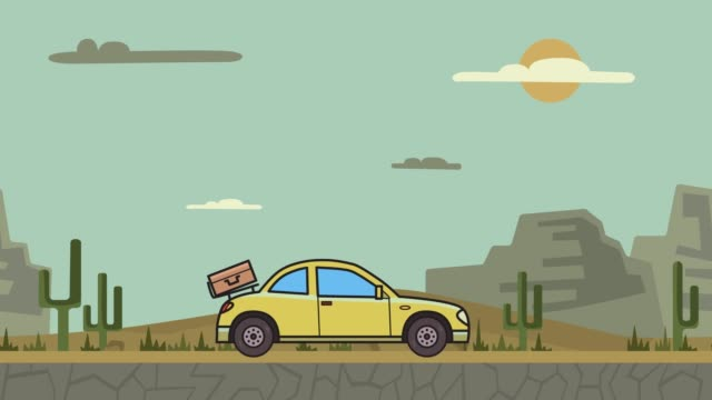 Animated coupe car with luggage on the rear hood riding through canyon desert. Moving hatchback on mountain desert background. Flat animation. video