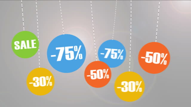 Animated Discount tags with percentages.