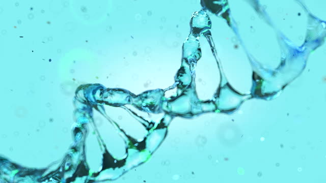 Animated DNA model from drops of water. 3D