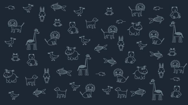 animerade doodle djur, kid mörk bakgrund. substrat för titlar och annat innehåll. design element - animal doodle bildbanksvideor och videomaterial från bakom kulisserna