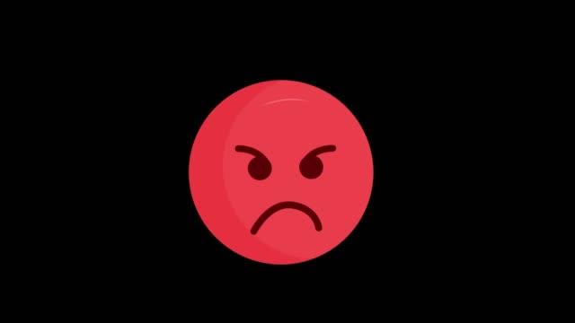 анимированные смайлики сердитый значок изолированы на черном фоне. - гнев стоковые видео и кадры b-roll