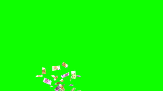 animated euro bank notes currency exploding as confetti on green screen