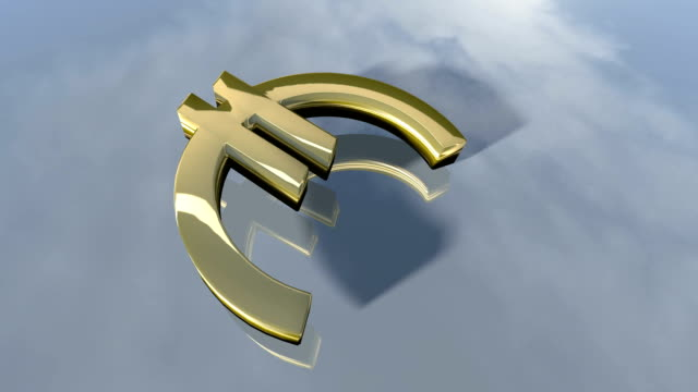 Animated falling shiny Euro money sign. 3d rendering video