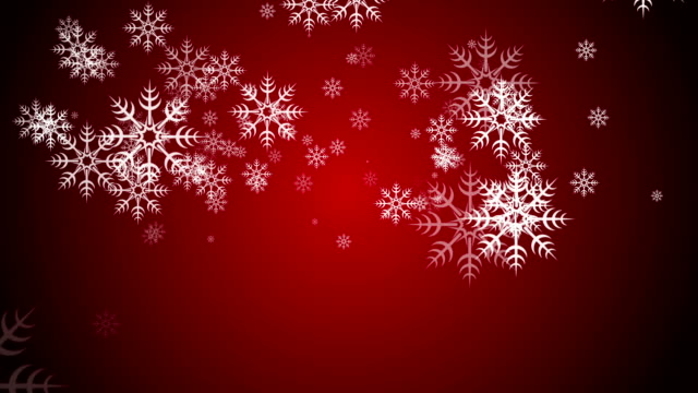 Animated Falling Snow Flakes on a Red Background video