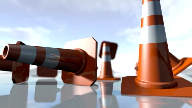 Animated falling traffic cone pilons. 3D rendering video