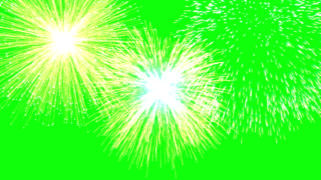 animated fireworks on green screen