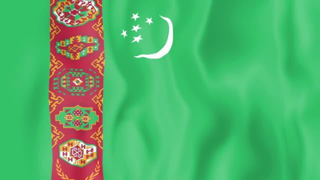 Animated flag of Turkmenistan Animated flag of Turkmenistan in slow motion turkmenistan stock videos & royalty-free footage