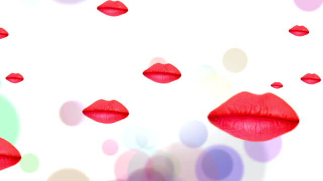 Animated Floating And Kissing Lips for Backgrounds Kissing Red Lips are Floating and Coming Closer on White Background with Colored Circles like Flying Balloons. Use for Valentine, Wedding, Mariage, Birthday, Celebration, Party or Greeting Cards as a Background. human lips stock videos & royalty-free footage