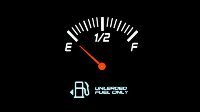 Animated Fuel Meter on a Black Background video
