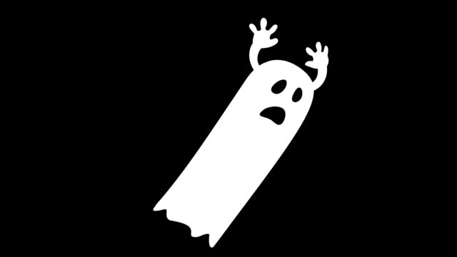 animated ghost character animated halloween cartoon ghost character on black background ghost stock videos & royalty-free footage