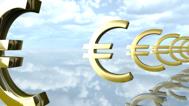 Animated golden Euro money signs loop-able. 3d rendering video