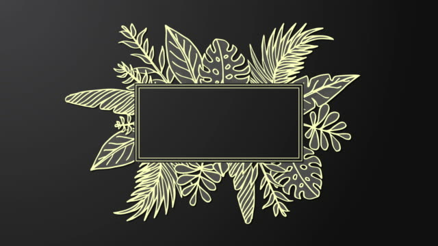 Animated golden frame with hand drawn leaf
