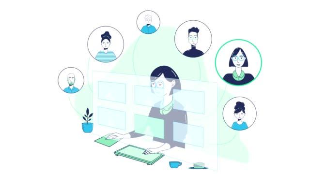 grafica animata della riunione del personale virtuale - illustrazione video stock e b–roll