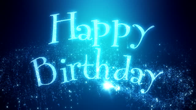 animated happy birthday message blue video