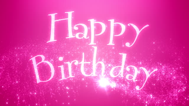 Animated Happy Birthday Message Pink The words Happy Birthday being wiped on by magic dust. birthday background stock videos & royalty-free footage