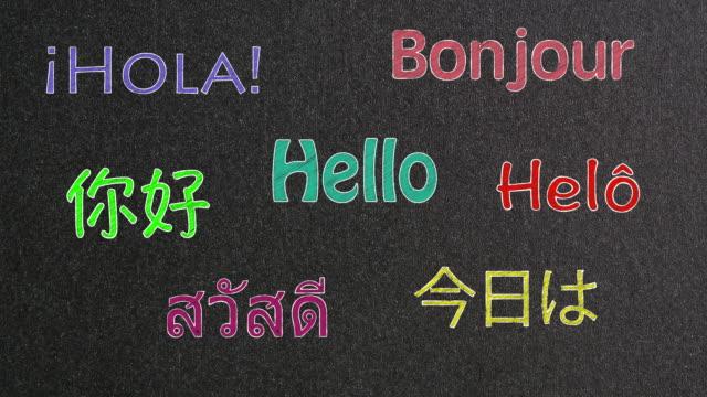 Palabra de Hola animada en diferentes idiomas - vídeo