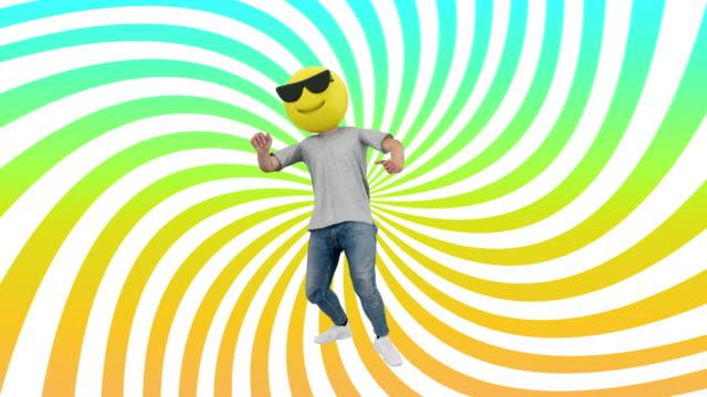 animierte menschliche lustige und glückliche dynamische tanzen in comical rhythm beat looping - smiley stock-videos und b-roll-filmmaterial