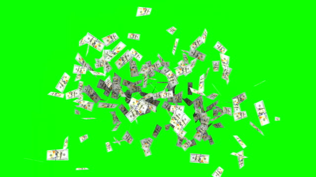 animated hundred dollar bank note as confetti animation on green screen