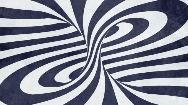 spirale di rotazione ipnotica animata con linee bianche e nere. animazione digitale senza loop senza soluzione di continuità. rendering 3d. 4k, risoluzione ultra hd - vortice forma geometrica video stock e b–roll