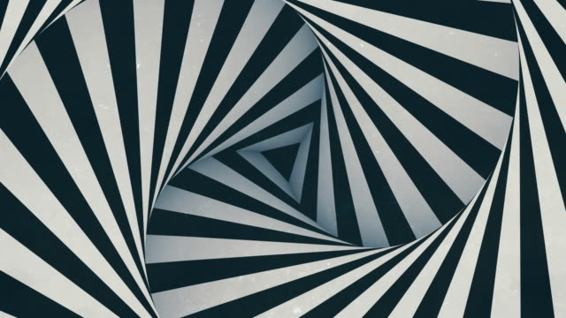 animated hypnotic tunnel with white and black stripes. digital seamless loop animation. 3d rendering. 4k, ultra hd resolution - ripetizione video stock e b–roll
