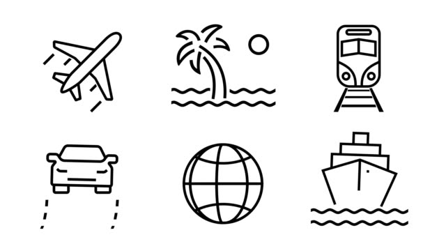 Animated icon set - Travel and Transportation (4k Loopable) A set Animated travel icons includes car, airplane, train, cruise ship. Loopable. 4k resolution. icon stock videos & royalty-free footage