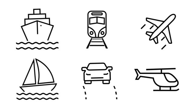Animated icon set - Travel and Transportation (4k Loopable)