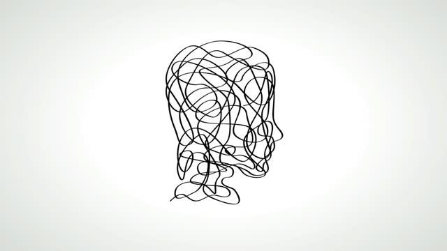 animerad illustration av begreppet förvirring i hjärnan, rita ett huvud genom att klottra - huvud bildbanksvideor och videomaterial från bakom kulisserna