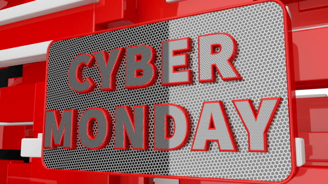 animated inscription cyber monday on abstract background. 3d render - cyber monday стоковые видео и кадры b-roll