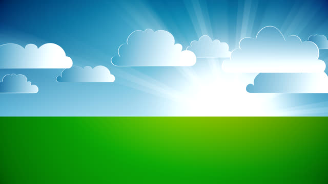 Animated landscape with clouds. video