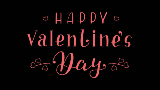 Animated Lettering Happy Valentines Day Happy Valentines Day - 4K High Resolution Animated Illustration with both Alpha Channel and Alpha (luma) matte. Hand Drawn Lettering Animation. Handwritten Motion Graphics Calligraphy Design. valentines day stock videos & royalty-free footage