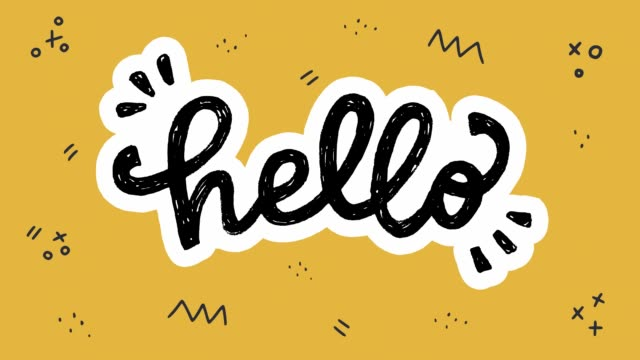 vídeos de stock e filmes b-roll de animated lettering word hello with moving doodles - texto datilografado