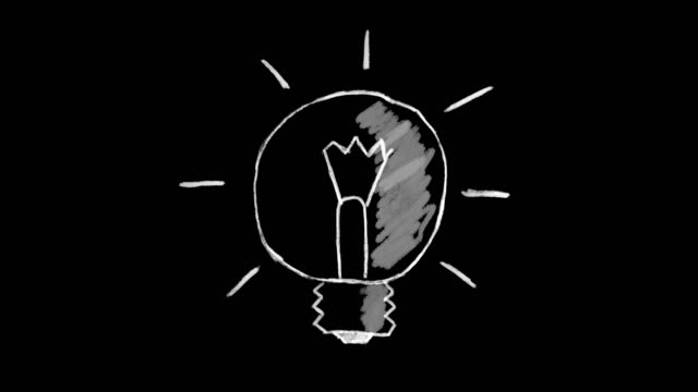 animated light bulb, chalk stroke on black background, ideal for compositing, use as a mask, ideal footage to represent the concept of idea