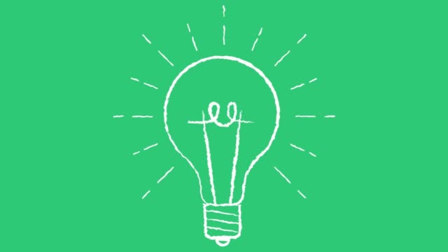 animated light bulb on green background invention or idea concept