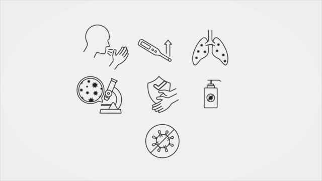 animated line art pictograms for covid-19 symptoms and precautions - icons стоковые видео и кадры b-roll