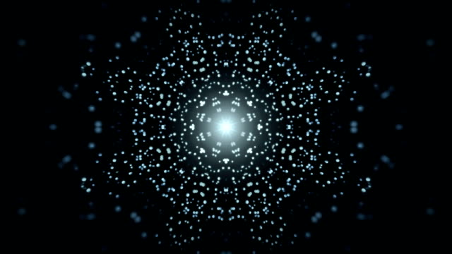 vídeos de stock e filmes b-roll de animated mandala star particles blue and black loop able. 3d rendering - mandala
