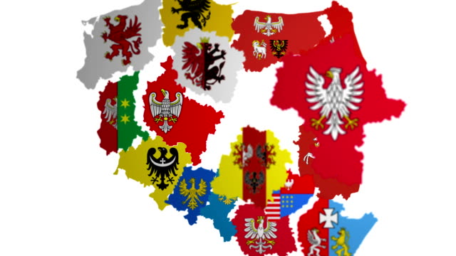 Animated map of administrative divisions in Poland Animated map and flags of administrative divisions in Poland with luma matte and can be used as alpha eastern europe stock videos & royalty-free footage