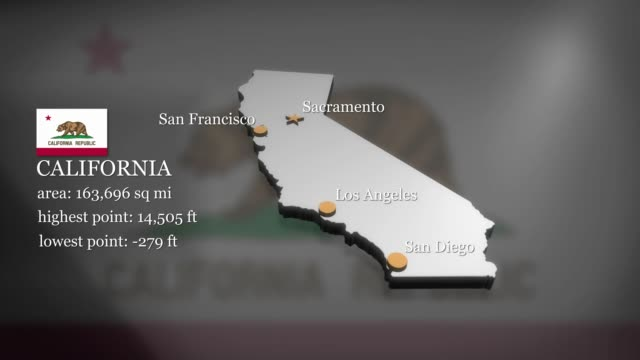 3D animated Map of California Seamless looping 3D animation of the map of California including 2 versions and alpha matte california map stock videos & royalty-free footage