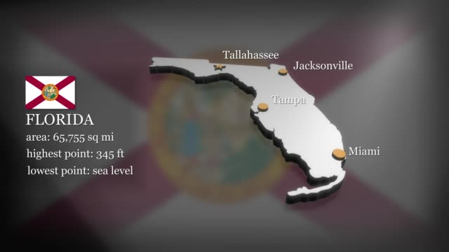 3D animated Map of Florida Seamless looping 3D animation of the map of Florida including 2 versions and alpha matte florida us state stock videos & royalty-free footage