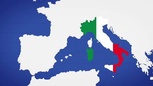 mappa animata d'italia con sfondo blu - milan fiorentina video stock e b–roll