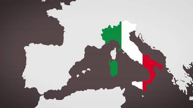 mappa animata d'italia con sfondo rosso scuro - milan fiorentina video stock e b–roll