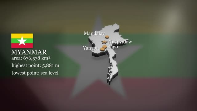 mappa animata 3d del myanmar - naypyidaw video stock e b–roll