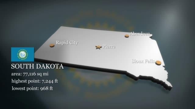 3D animated Map of South Dakota