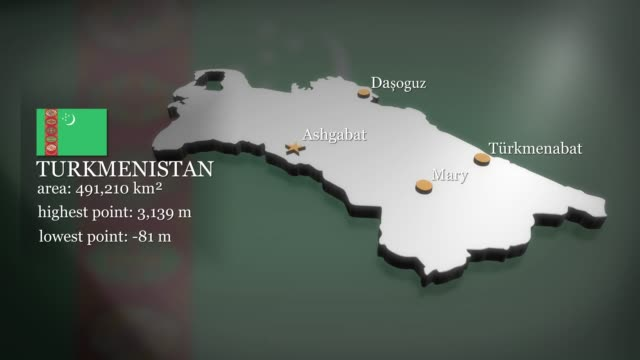 3D animated Map of Turkmenistan Seamless looping 3D animation of the map of Turkmenistan including 2 versions and alpha matte turkmenistan stock videos & royalty-free footage