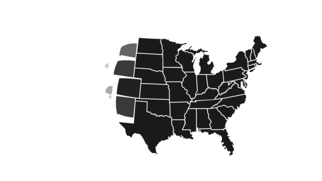 animated map of united state of america showing administrative regions. usa map with black federal states appearing and fading one by one. detailed political country map with divisions. 4k resolution - geografia fisica video stock e b–roll